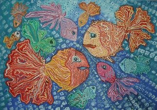 Devdariani Mariam; Funny Fishes, 2014, Original Painting Other, 60 x 42 cm.