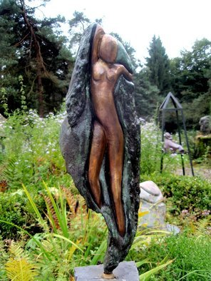Marianne Den Otter; Escaping From The Stone, 2010, Original Sculpture Bronze, 22 x 40 cm. Artwork description: 241    Impressions of ancient times  bronze sculpture of a woman escaping out of the stone   ...