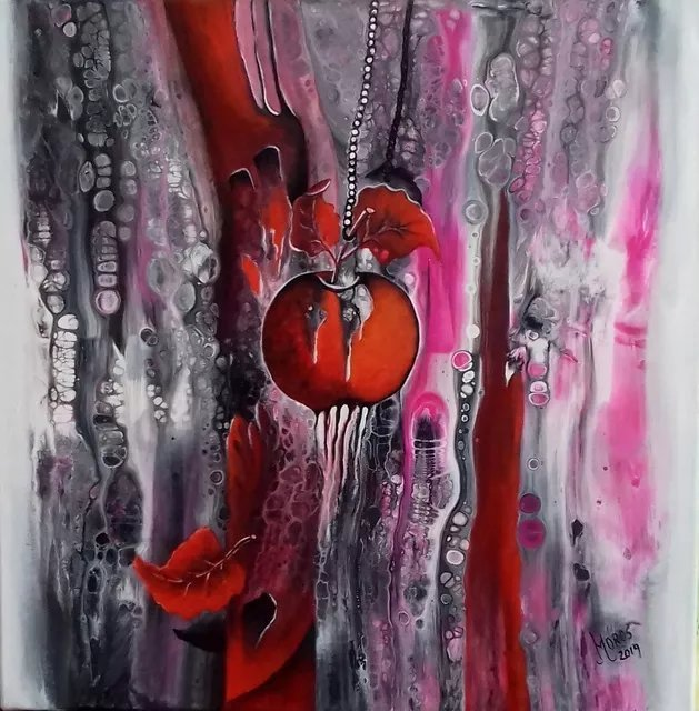 Mariana  Oros; The Red Apple, 2019, Original Painting Acrylic, 60 x 60 cm. Artwork description: 241 acrylic on canvas, ready to display...
