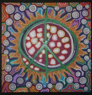 Marie Stewart; Peace Sign, 2009, Original Painting Acrylic, 36 x 36 inches. Artwork description: 241  Original art work in acrylic, with a contemporary use of paint and pointillism, inspired by aborigines, incorporating modern day symbolism of the peace symbol. ...
