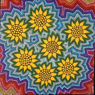Marie Stewart; Sunflowers, 2009, Original Painting Acrylic, 15 x 15 inches. Artwork description: 241   Original art work in acrylic, with a contemporary use of paint and pointillism, inspired by aborigines, this dotalistic style gives a new twist to the image of Sunflowers. ...