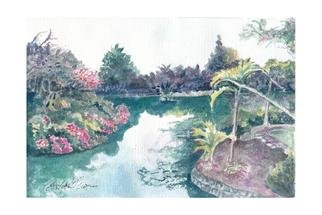 Carolyn Alston Thomas; Vietnam Landscape, 2013, Original Printmaking Giclee - Open Edition, 7 x 10 inches. Artwork description: 241    This is a watercolor. I have family in Vietnam. This is from a photo that I believe was taken by my sister on a visit to that beautiful country.   ...