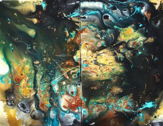 C. Mari Pack; Tierra Misteriosa, 2013, Original Painting Acrylic, 48 x 36 inches. Artwork description: 241      Original poured diptych acrylic painting. Deep tones, with contrasting black, white, turquoise and gold. All materials used are archival.     ...