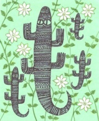 Marina Novikova; Monitor Lizards, 2013, Original Drawing Other, 19 x 15 cm. Artwork description: 241 Monitor Lizards were found among the bushes of Jasmine and smelt the scent of flowers. ...