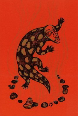 Marina Novikova; Step Out Of Fire, 2013, Original Drawing Marker, 22 x 30 cm. Artwork description: 241 The one who is unharmed in the fire.Lizard, salamander, fire ...