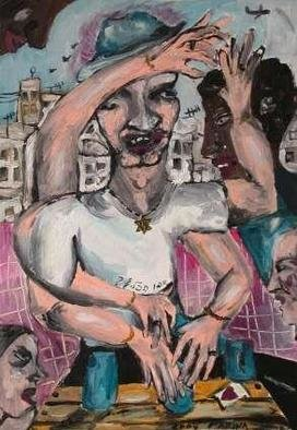 Marina Toshich, Trickman at The Old Bus Sta..., 2004, Original Painting Acrylic, size_width{Trickman_at_The_Old_Bus_Station_Tel_Aviv-1078150945.jpg} X 45 x  cm