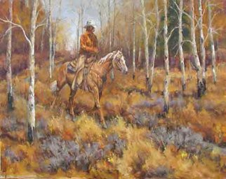Donny Marincic; Long Trot, 2013, Original Painting Oil, 24 x 30 inches. Artwork description: 241  cowboys, western, western art, horses, cattle drive  ...