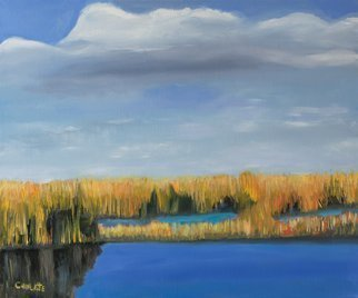 Marino Chanlatte; Everglades 1, 2019, Original Painting Oil, 24 x 18 inches. Artwork description: 241 Everglades landscape series, I am starting this new series in 2019.  Ready to hang.  Nature, Everglades, Florida, Miami, water, sky, blue...
