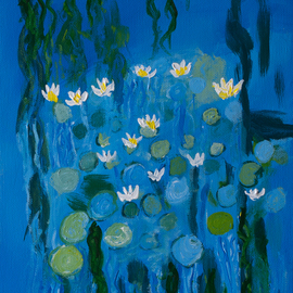 Marino Chanlatte, , , Original Painting Acrylic, size_width{water_lilies_12-1509925744.jpg} X 12 inches