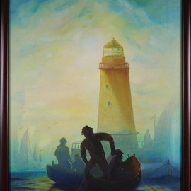 Raju Dyapur, , , Original Painting Oil, size_width{Early_Morning_Fishing-1453036596.jpg} X 28 inches