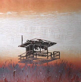 Marisa Keller; Life Guard, 2007, Original Printmaking Monoprint, 30 x 30 inches. Artwork description: 241  Inspired by the a life guard house I saw in Australia. The print is a combination of woodcut, reliefprint and monotype. ...