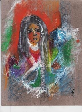Mario Ortiz Martinez, 'Dolores', 2019, original Mixed Media, 9 x 11  inches. Artwork description: 3138 PORTRAIT. IMPRESSIONIST STYLE, WOMAN. DEPICT MIXED EMOTIONS, COLORFUL, IMPRESSIONIST, RELIGIOUS, PASSION, MISTERY....