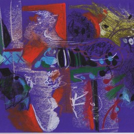 Mario Ortiz Martinez, , , Original Pastel Oil, size_width{fantasy_on_purple-1560551188.jpg} X 9 inches
