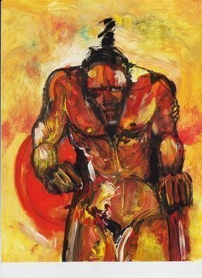 Mario Ortiz Martinez, 'Fighter', 2019, original Mixed Media, 9 x 12  inches. Artwork description: 3483 PORTRAIT. IMPRESSIONIST STYLE,  MAN, NUDE, COLORFUL. ...