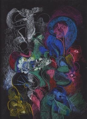 Mario Ortiz Martinez, 'Lorelia', 2019, original Pastel, 9 x 11  inches. Artwork description: 3483 ALL KIND OF ELEMENTS DECORATING THIS SUGGESTIVE PAGE OF ART. COLORFUL PASTEL ON STRATHMORE ARTAGAIN COAL BLACK PAPER. THE FEAST OF IMAGINATION, PURE PLEASURE TO MANIPULATE THIS EXPRESSIVE MEDIA.  A RICH COLLECTION SUITABLE TO DECORATE THAT SPECIAL SPACE OF YOUR ROOM. ...