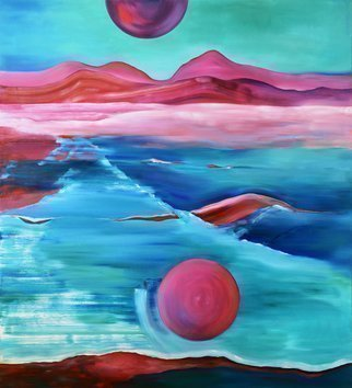 Marina Venediktova; Red Whale, 2021, Original Картина Маслом, 100 x 110 cm. Artwork description: 241 I created the painting Red Whale under the impression of ancient legends of the northern peoples, in which the Sky was represented and described as a cosmic ocean around the globe.  A huge whale fish, the mother of all fish, holds the newly born planet Earth on ...