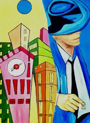 Mariya Kiyan; City, 2014, Original Painting Acrylic, 50 x 60 cm. Artwork description: 241    50X60 canvas Acrylic and oil painting in pop art style ...