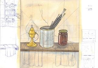 Marijan Stankovikj; Sketch, 2019, Original Mixed Media, 30 x 21 cm. Artwork description: 241 sketch, plan, study, watercolor, pen, pencil, drawing, brushes, jar, ...