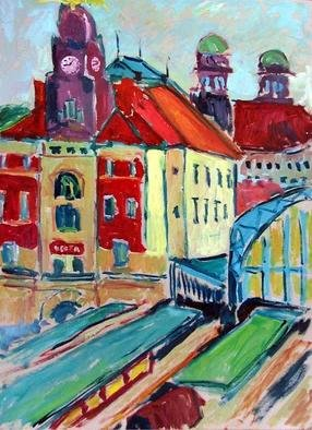 Marko Janicki; Main Railway Station 2, 2004, Original Painting Oil, 50 x 70 cm. Artwork description: 241 This is the main railway station in Prague, a nice Art Nouveau building, on September 2004, 8- 9 o' clock in the morning. ...