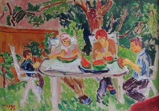 Marko Janicki; Melon Eaters, 2001, Original Painting Oil, 70 x 50 cm. Artwork description: 241 A painting I made a la prima at my garden, while my family members were eating a watermelon. ...