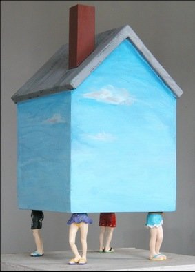 Mark Wholey; BeachHouse, 2003, Original Mixed Media, 8 x 14 inches. Artwork description: 241   An iconographic house painted with walls of sky and a gray roof and brick red chimney is supported by four plastic figures in bathing costumes.       ...