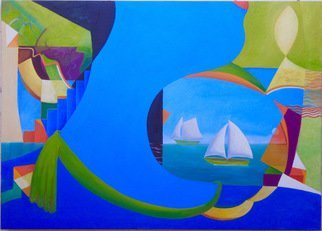 Mark Wholey; Blue HEad, 2016, Original Painting Oil, 41 x 29 inches. Artwork description: 241   Perspective, seascape, figurative and abstract in an intriguing fresh composition. ...