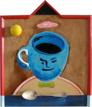 Mark Wholey; Here comes the coffee and..., 2012, Original Mixed Media, 1.2 x 14 inches. Artwork description: 241  A coffee cup with a face on it floats above a half circle and a green bow tie with a pink cloud over the top. An actual handle is attached as well as a silver spoon and yellow ball acting as a sun. Bordered in red with ...