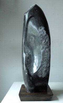 Mark Wholey; Homage To Noguchi, 2014, Original Sculpture Granite, 19 x 6 inches. Artwork description: 241 Isamu Noguchi loved materials and this carving honors his artwork. Each side a strong statement that also works as a unit. Black fossil stone contains little particles of primordial shell fragments. ...