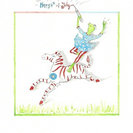 Marina Montanaro, Happy 4th of July 2015, 2015, Original Watercolor, size_width{Happy_4th_of_July_2015-1436045744.jpg} X 20 cm