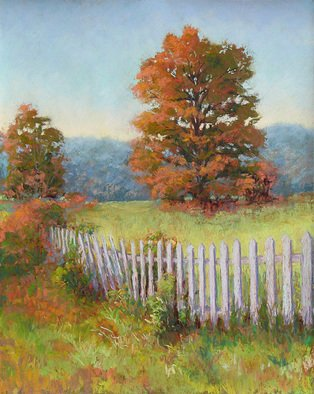 Marsha Savage; Autumn Pickets, 2007, Original Pastel, 16 x 20 inches. Artwork description: 241  Old picket fence and autumn color oak tree, done from photograph taken near Cumming GA. Colors were changed from a summer scene to the autumn one. ...