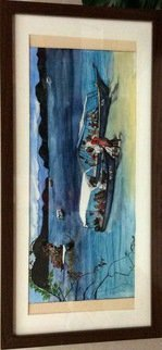 Asmaa Azhar; Asian Nature, 2005, Original Watercolor, 53 x 26 inches. Artwork description: 241  Boats and people on the Gulf Coast asian ...