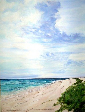 M Barona Caputo; The Heavens Declare The G..., 2006, Original Painting Acrylic, 24 x 18 inches. Artwork description: 241  Windy golden and turquoise waters beach with a vast sky ...