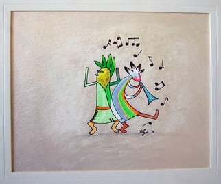 Marty Montez; KoChina Band With Husker, 2015, Original Mixed Media, 11 x 17 inches. Artwork description: 241  Husker and Kokopelli!Check out the moves this kachina has when the Joybringer plays those native beats man!They rock the desert!They rock the mountains!They rock the cliffs!No wonder the enchanted lands are so colorful!Any size print available.Original mixed media is matted ...