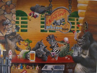 Marvin Teeples; The Wretched Rhino, 2008, Original Painting Oil, 40 x 30 inches. Artwork description: 241  This is a oil painting of the fabled Wretched Rhino Saloon. It has ultra detail such as the beads of sweat on the beer mug, and the thickly layered paint on the fireplace stones. ...
