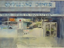 Artist: Maryann Burton's, title: Best Diner in Manhattan, 2015, Watercolor
