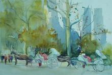 Artist: Maryann Burton's, title: Carriage Stop, 2013, Watercolor