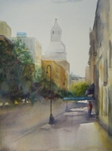 Artist: Maryann Burton's, title: Gramercy Park and Irving Pl..., 2014, Watercolor