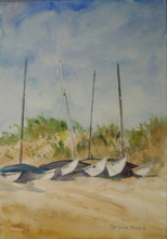 Artist: Maryann Burton's, title: Hobie Cats Ocean City, 2013, Watercolor