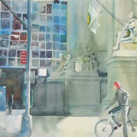 Maryann Burton, In The Canyon of Heroes, 2014, Original Watercolor, size_width{In_The_Canyon_of_Heroes-1416340854.jpg} X 15 inches