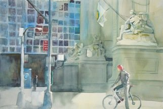 Maryann Burton; In The Canyon Of Heroes, 2014, Original Watercolor, 22 x 15 inches. Artwork description: 241 This piece was accepted into thePascack Art Association, Inc. 2nd Annual Tri- State Judged Exhibition held at theRidgewood Art Institute, in Ridgewood, NJ...