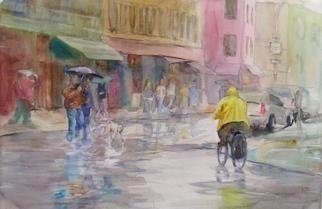 Maryann Burton; Wet Village, 2005, Original Watercolor, 32 x 24 inches. Artwork description: 241 Wet Village was awarded BEST IN SHOW in The Hudson Artists of New Jersey, Inc. 52nd Annual Regional Exhibition. This painting depicts the intersection of Christopher and Bleecker Streets, in West Greenwich Village, New York City. It is archivally framed in a solid wood gold leaf frame, ...