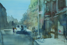 Artist: Maryann Burton's, title: White Van in the City, 2015, Watercolor