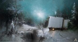 Medvedev Igor; Fairy Tail, 2013, Original Painting Oil, 23 x 40 inches. Artwork description: 241  Winter, snow, forrest, smooke, candle, house, trees  ...