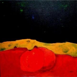 Michal Ashkenasi; Fruit In Red, 2002, Original Painting Acrylic, 80 x 80 cm. Artwork description: 241 A semi- abstract painting in vivid colors. ...