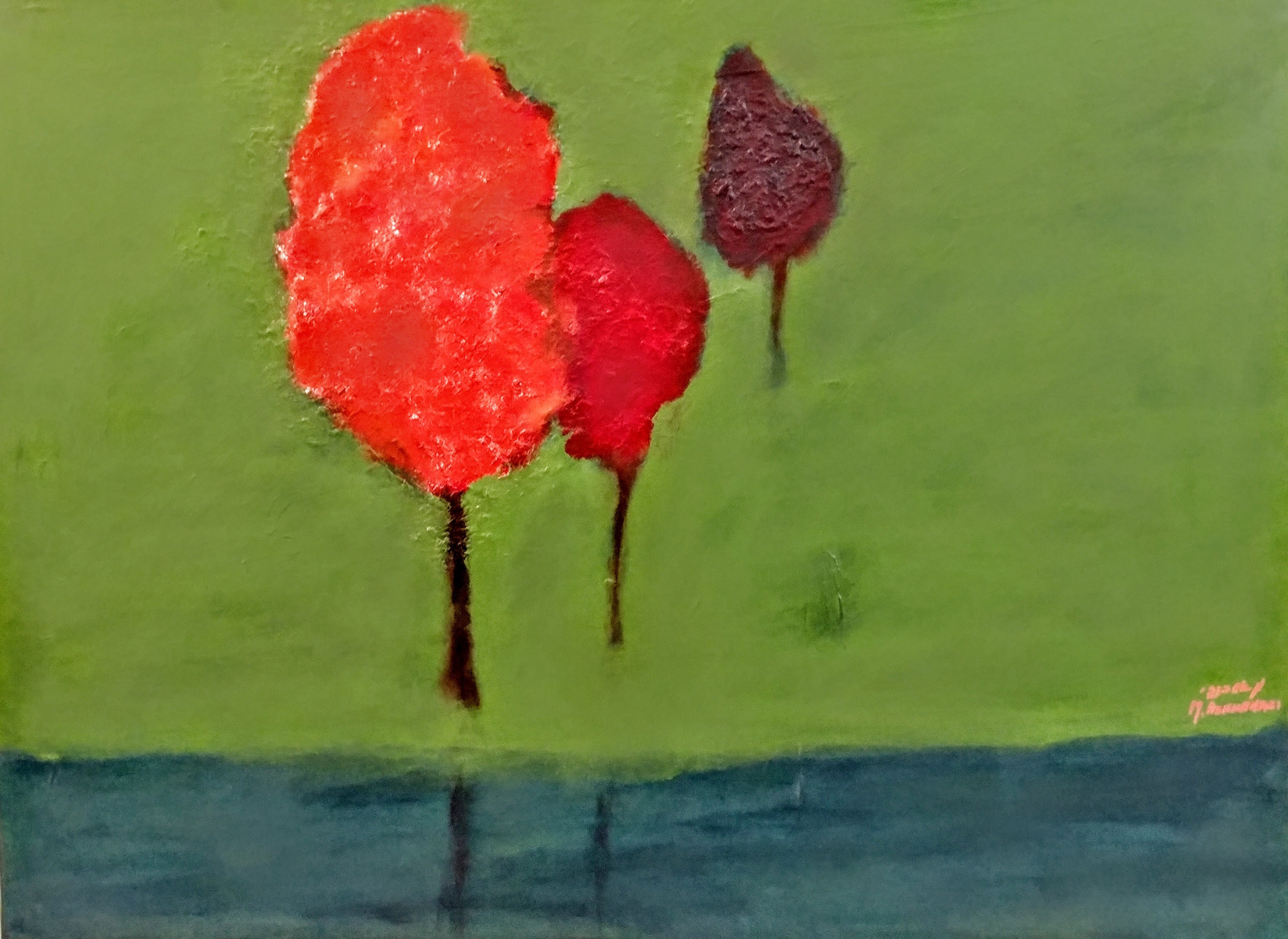 Michal Ashkenasi; Red Trees, 2016, Original Painting Acrylic, 80 x 60 cm. Artwork description: 241 An abstract work with beatiful colors . I made an experience with sculping paste and was not happy with the end product . After cleaning the paint and the paste, there were still residues. And so this painting was born on the residue of the former painting . The result ...