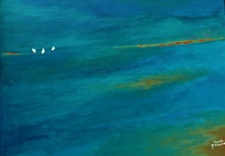 Michal Ashkenasi; Sails, 2017, Original Painting Acrylic, 80 x 60 cm. Artwork description: 241 An abstract - minimalistic painting of the Sea and three small Sails  It is a kind of showing the smallness of Men in the Nature . ...