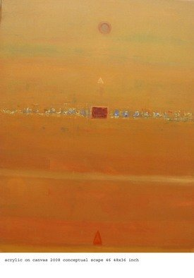 Anindya Roy; Conceptual Scape 47, 2008, Original Painting Acrylic, 36 x 48 inches. Artwork description: 241  This also from my conceptual scape series, an evening atmosphere blending with radish colour in my country side . ...
