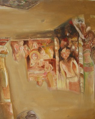 Anindya Roy; Conceptual Scape 63, 2007, Original Painting Acrylic, 30 x 24 inches. Artwork description: 241     A imaginative structure from Ajanta CAve paintings.   ...