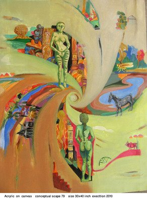 Anindya Roy; Conceptual Scape 80, 2011, Original Painting Acrylic, 30 x 40 inches. Artwork description: 241        spirituality within landscape and other object living on it, conceptualize all over then a visual effect is the process I adopt when in action.         ...