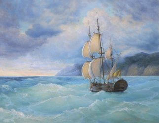 Yuriy Matrosov; Among The Waves, 2016, Original Painting Oil, 35.4 x 27.6 inches. Artwork description: 241 Painting Oil on Canvas.  This picture was inspired by an exhibition of the famous marine artist Ivan Aivazovsky, which I recently visited in the State Russian Museum in Saint- Petersburg.In this painting I applied many layers of color to create a transparent quality for showing the ...